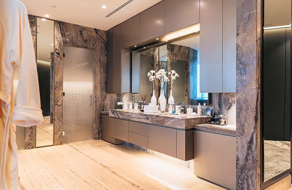 Interior Design for Private Apartment in Volante Tower, Volante Bathroom - Ashtaar Interiors in Dubai