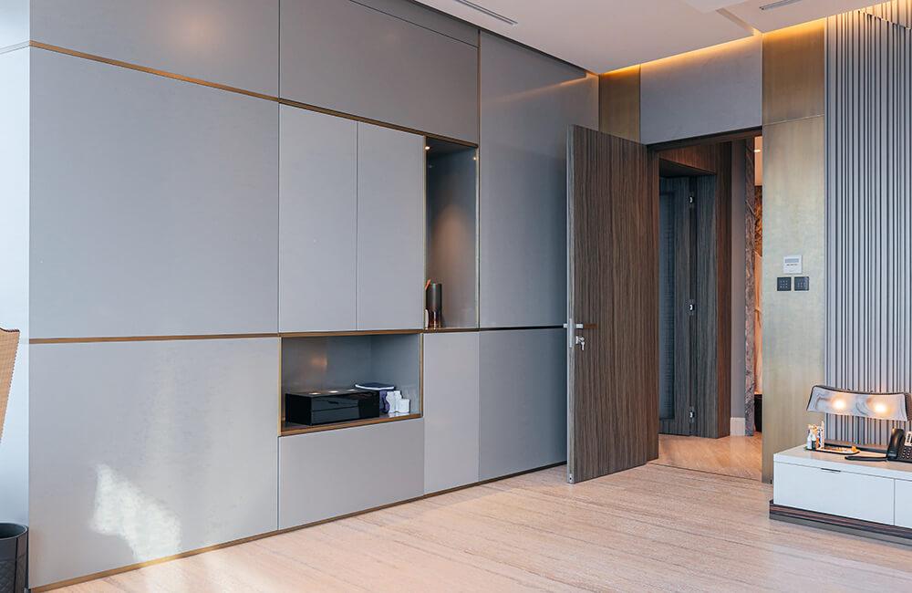 Interior Design for Private Apartment in Volante Tower, Volante Bedroom Wall Panel - Ashtaar Interiors in Dubai