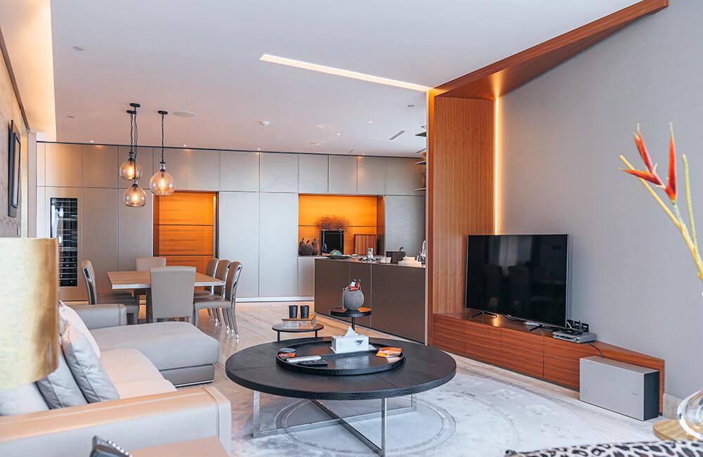 Interior Design for Private Apartment in Volante Tower Volante Family Room - Ashtaar Interiors in Dubai
